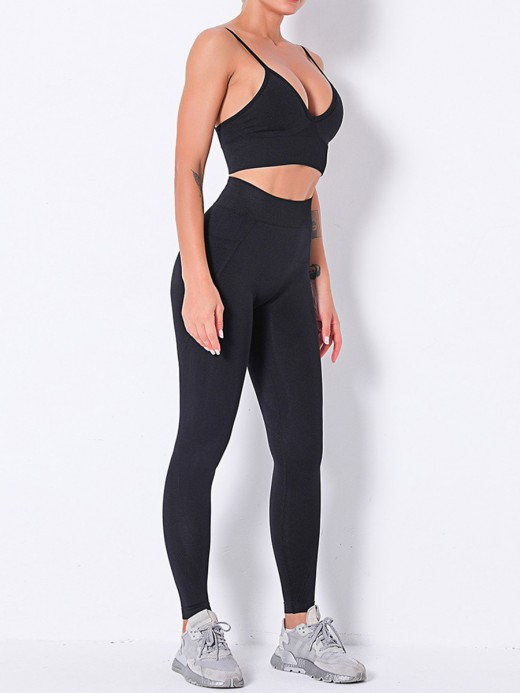 Black Solid Color Seamless Backless Yoga Suit High Elastic