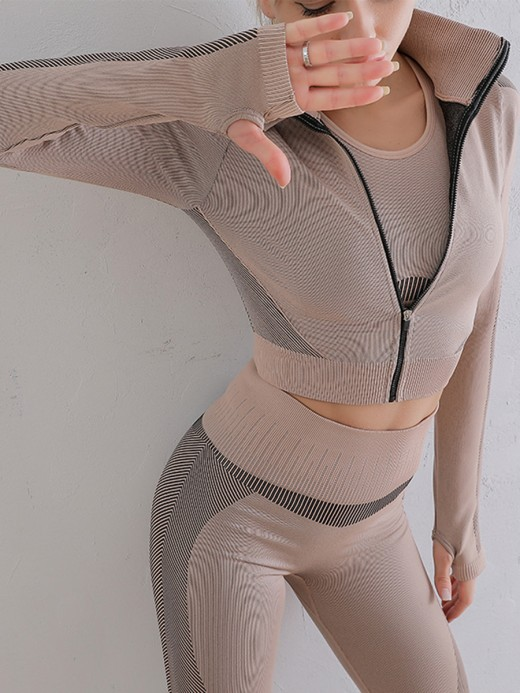 Camel Running Suit Patchwork Seamless Ankle Length Refined Outfit