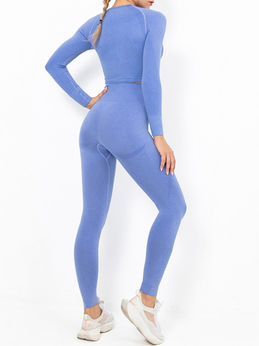 Royal Blue Seamless Crop Top High Waist Leggings Women's Apparel