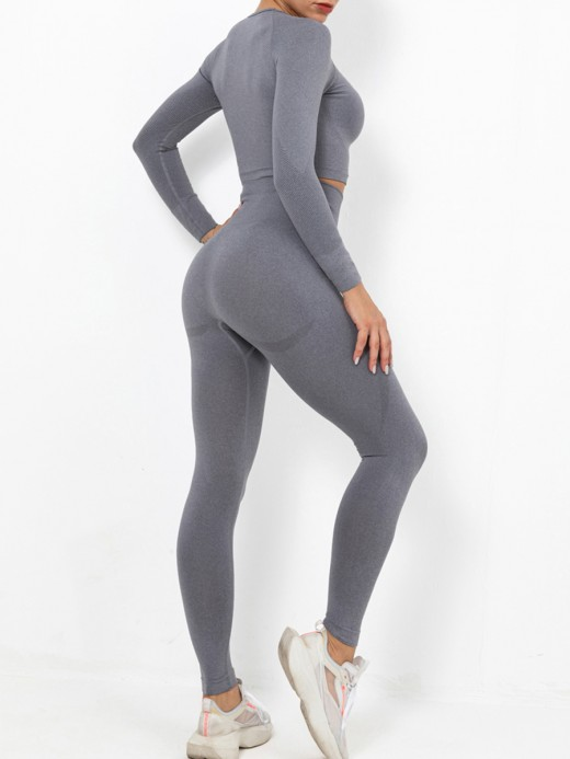 Gray Sports Suit Solid Color Wide Waistband Outdoor