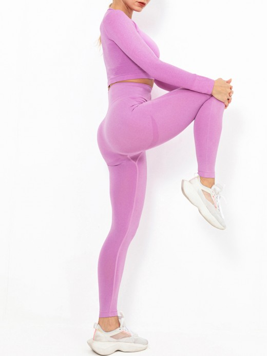 Rose Red Solid Color High Rise Athletic Suit Elasticated