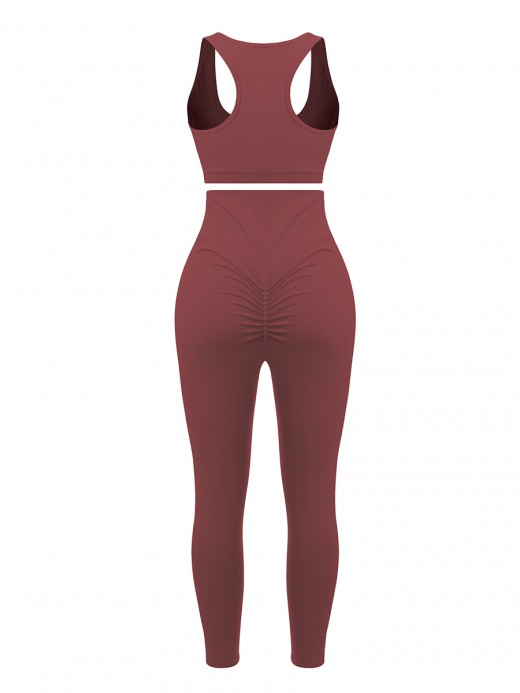 Jujube Red Running Suit High Rise Solid Color For Exercising