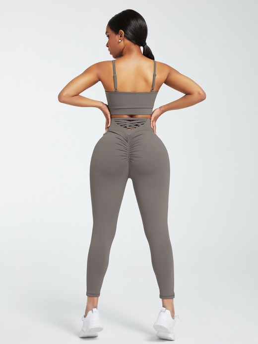Gray Sports Sets Low Back Wide Waistband Pockets Natural Outfit
