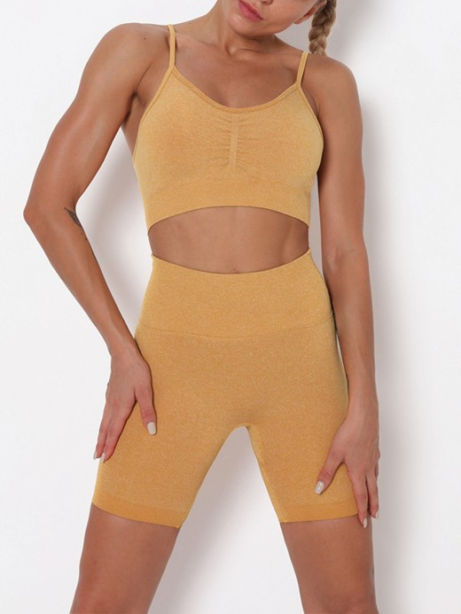 Yellow Seamless Thigh Length Athletic Suit Fashion Style