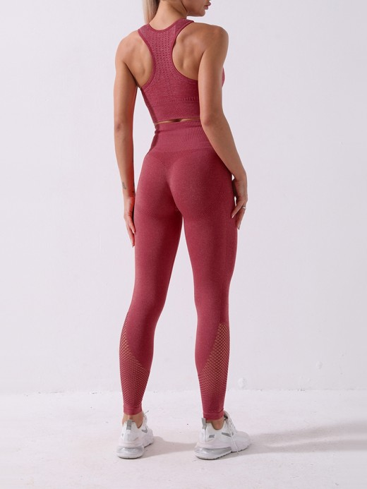 Red Knit Seamless Hollow Out Yoga Wear Suit Female Fashion