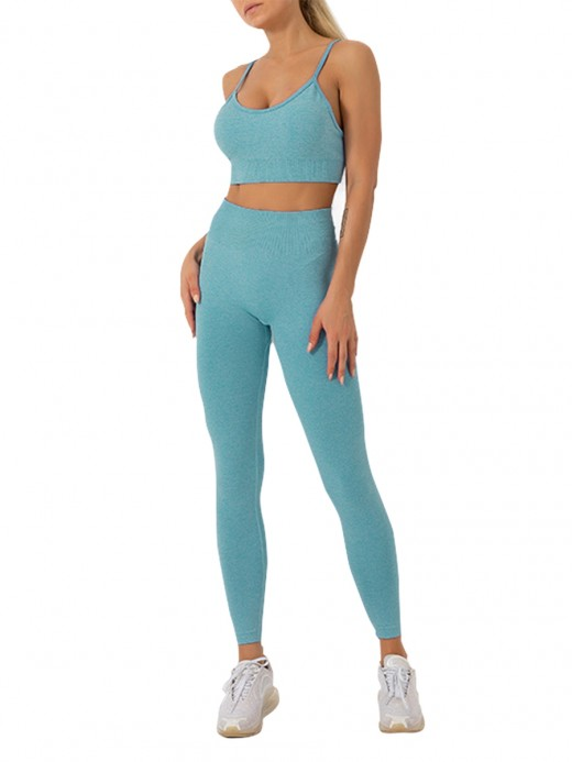Blackish Green Wide Waistband Spaghetti Straps Yoga Suit Comfort