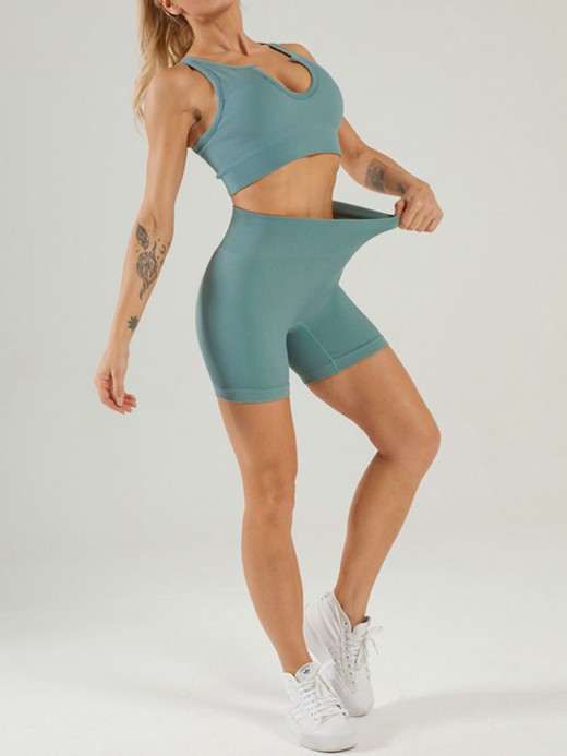 Blue Seamless Yogawear Suit Low Neckline Sleeveless High Elasticity
