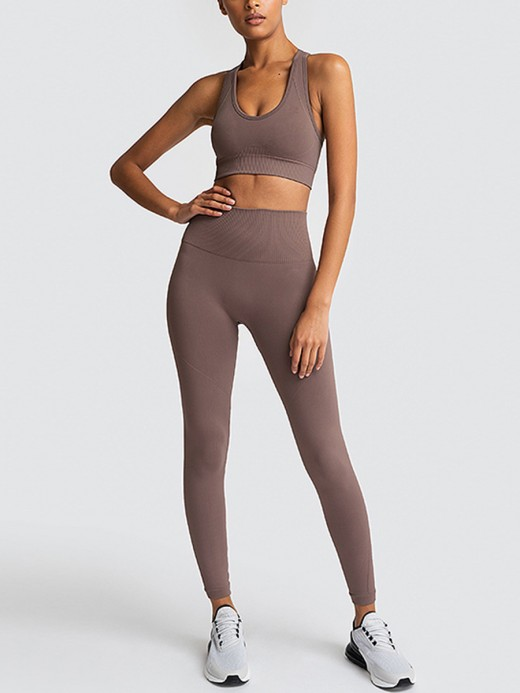 Brown High Rise Sweat Suit Crop Top Seamless Good Elasticity