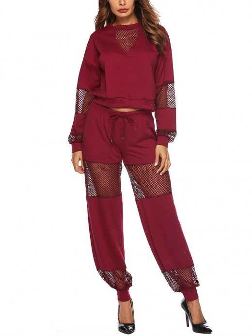 Energetic Jujube Red Long Sleeves Sweat Suit Hollow Out For Girls