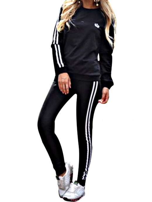 Appealing Black Round Neck Sweat Suit Long Sleeves For Shopping