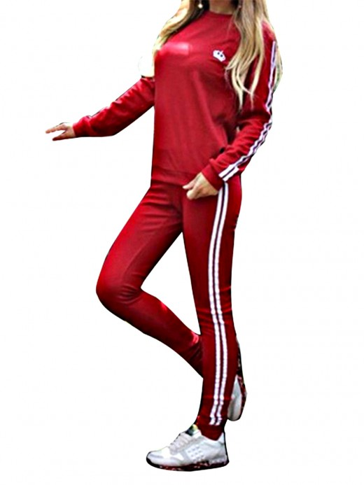 Glamorous Red Two Pieces Full Sleeves Sweat Suit Elasticity