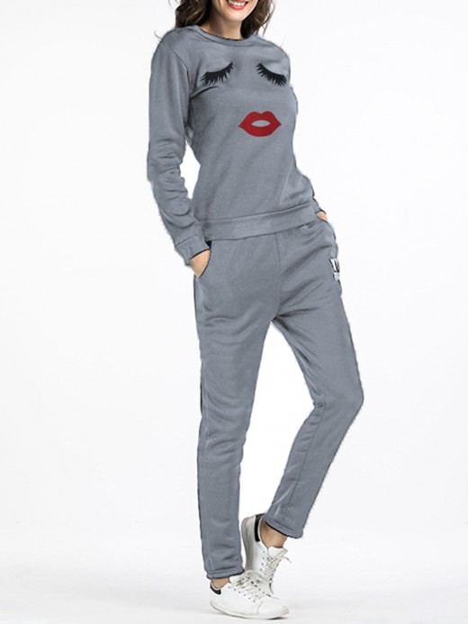 Enticing Gray Full Length Eyelash Print Sweat Suit For Street Snap