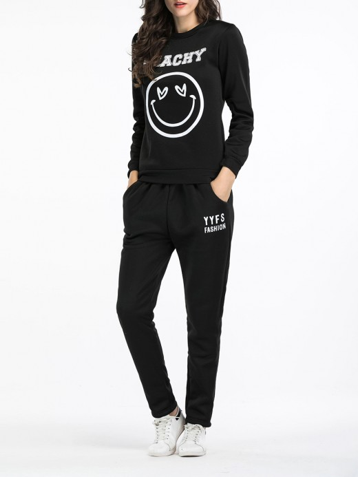 Snazzy Long Sleeve Smile Pattern Sweat Suits Soft-Touch