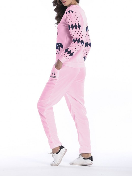 Essential Deer Pattern Sweat Suit Colorblock For Party