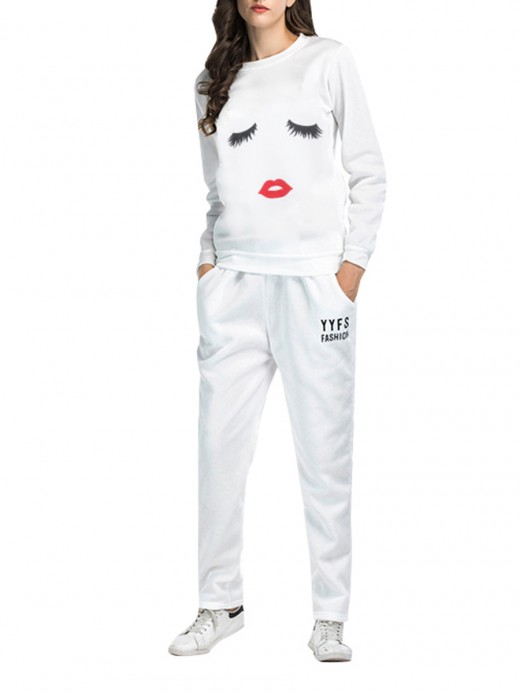Hawaii White Long Sleeves Sweat Suit Lips Pattern Comfort Fashion