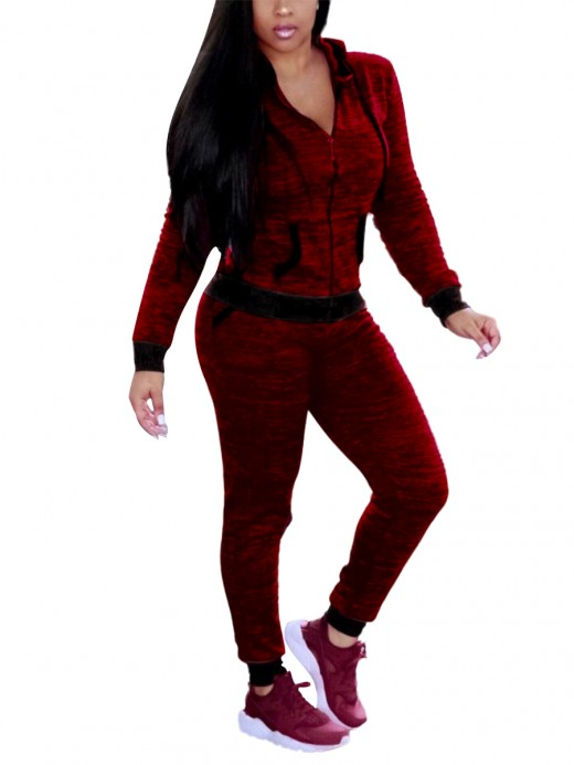 Tropics Wine Red Zipper Athletic Suit Drawstring Fabulous Fit