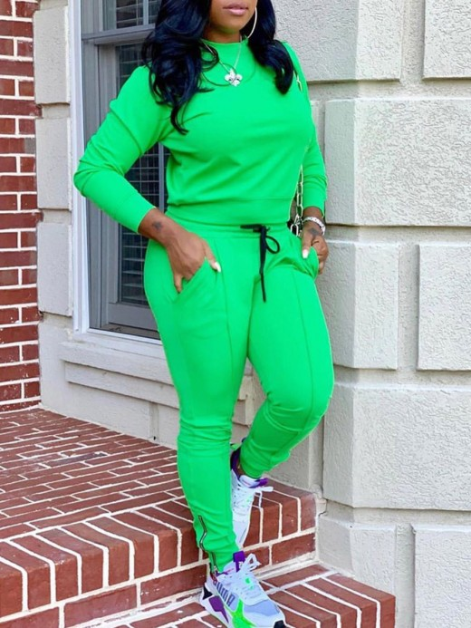 Dreamlike Green Long Sleeves 2 Pieces Solid Color Suits Regular Fit