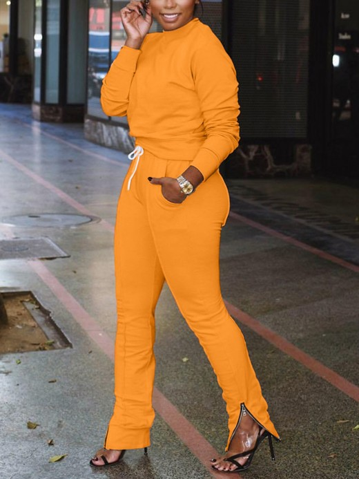 Brightly Orange Plain Full Length Two Pieces Sweat Suit Good Elasticity