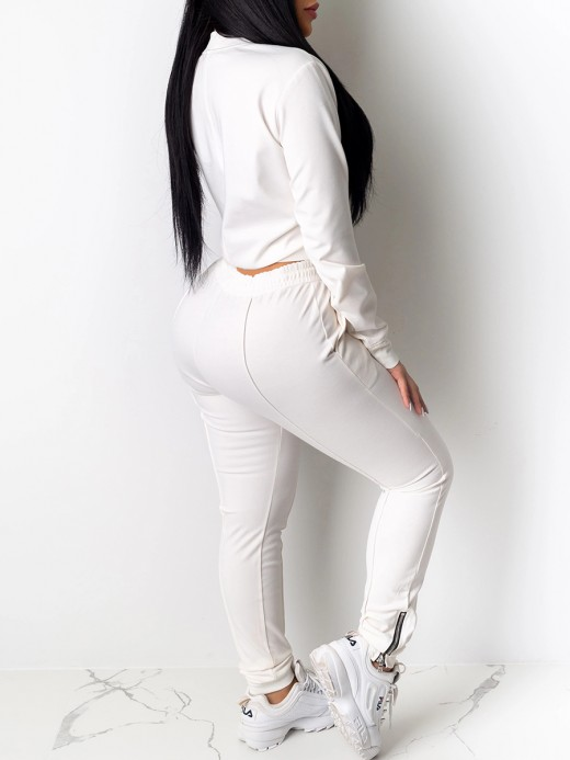 Casual White Long Sleeves Sweat Suit Ankle Zipper Athletic Comfort