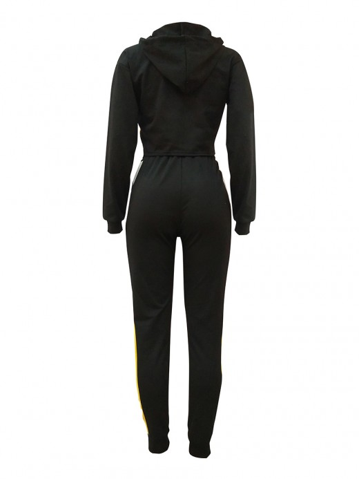 Ingenious Black Sweat Suit Hooded Neck Contrast Color For Hanging Out