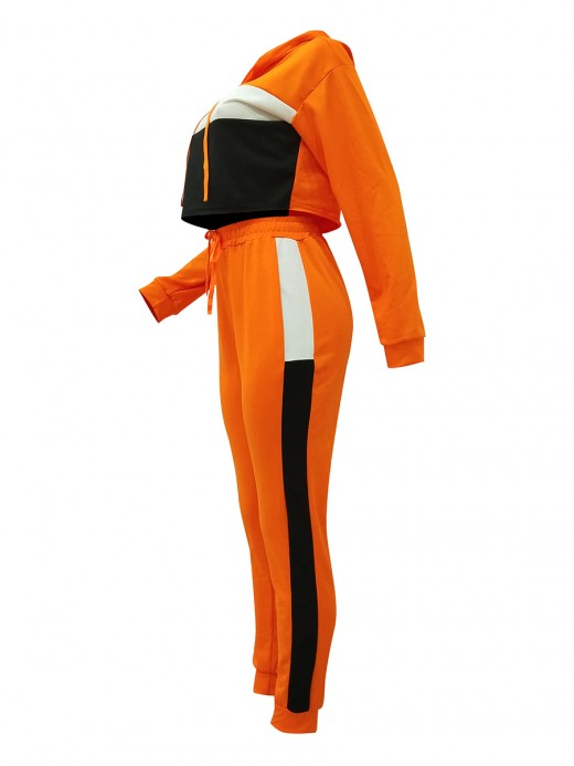 Simply Orange Long Sleeve Drawstring Hooded Sport Set For Beauty