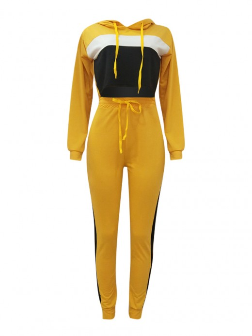 National Style Yellow Two Pieces Hooded Top Colorblock Pants Leisure Time