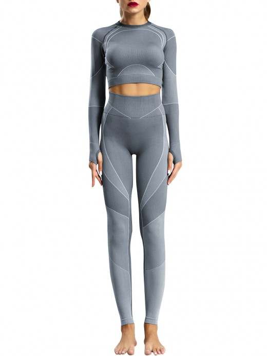 Leisure Gray Long Sleeves Sweat Suits High Waist Weekend Time