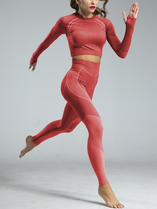 Versatile Red Seamless Knit Sweat Suits Ankle Length Stretchy Fabric