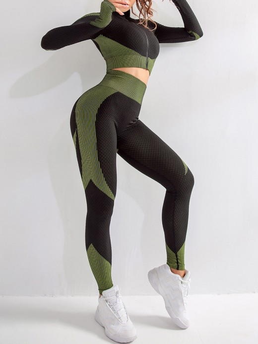 Flattering Green Zipper Patchwork Yoga Suit Thumbhole For Women