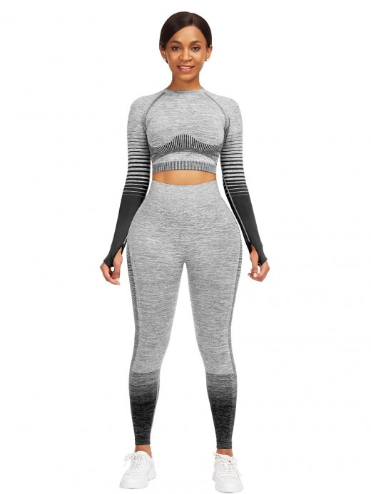 Lavish Black Crop Top Crew Neck High Waist Pants For Training