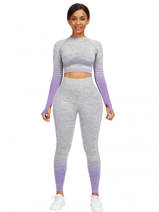 High Elastic Purple Athletic Suit Long Sleeves Patchwork For Training