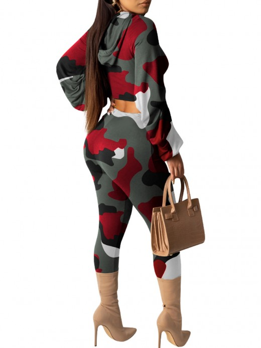 Creative Red Hooded Sports Suit Camouflage Print Ladies Elegance