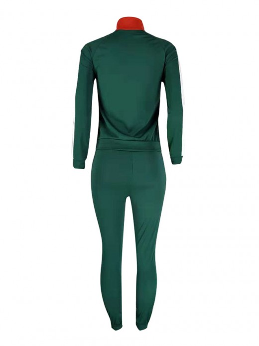Modern Fit Blackish Green Two Pieces Queen Size Stitching Sweatsuit