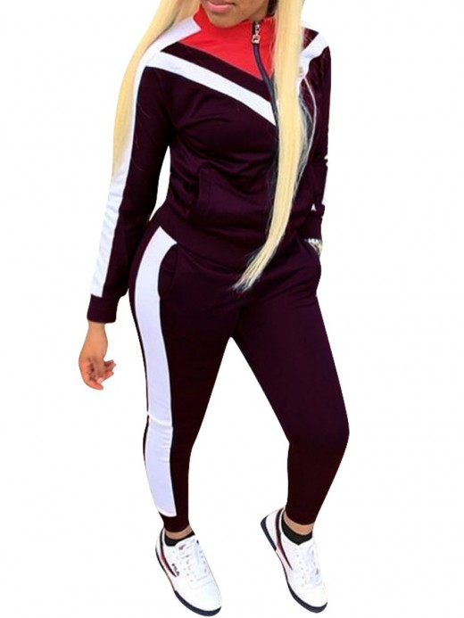 Deep Purple Plus Size Patchwork Sport Set With Pocket Close-Fitting