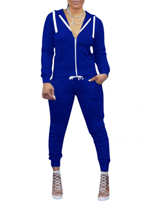 Casual Royal Blue Zipper Hooded Sports Top And Pants Set For Girls