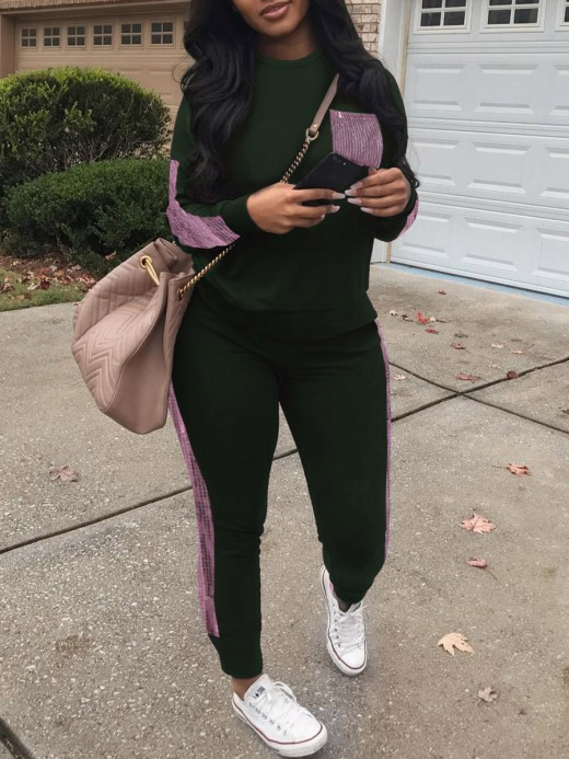 Simply Chic Blackish Green Sweat Suit Sequin Long Sleeve Crewneck