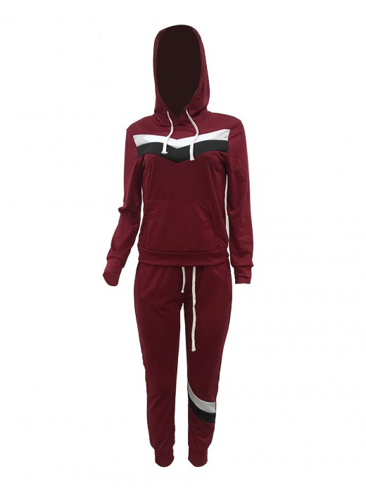 Splicing Wine Red Drawstring Sports Suit With Pockets Elasticity