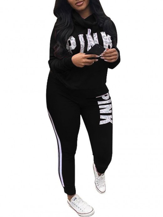 Comfortable Black Drawstring Training Suits Plus Size Casual Look