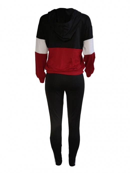 Charming Black Colorblock Hooded Neck Two-Piece Zip Sports Series