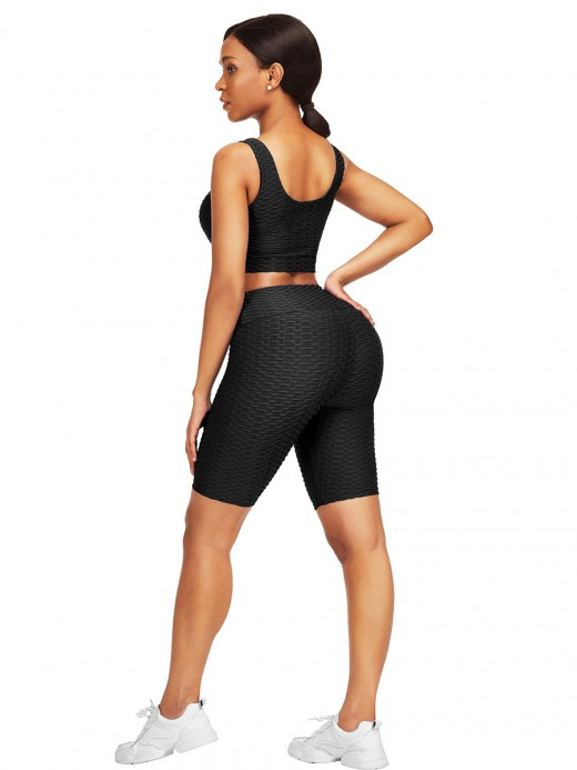 Elasticated Black Jacquard High Waist Crop Sports Suit For Work