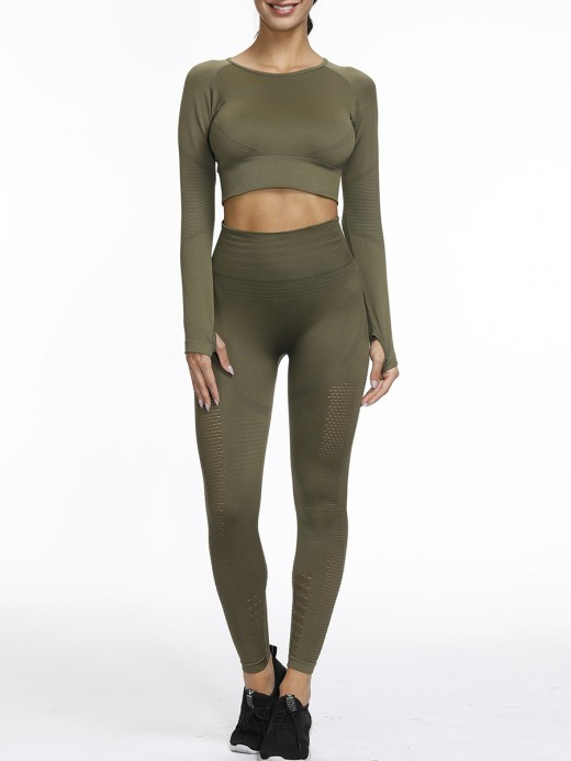 Flawlessly Army Green Hollow Seamless Yoga Suit Round Neck