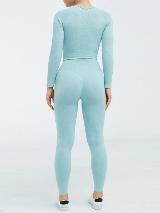 Tight Blue Round Collar Crop Yoga Suit High Waist Refined Outfit