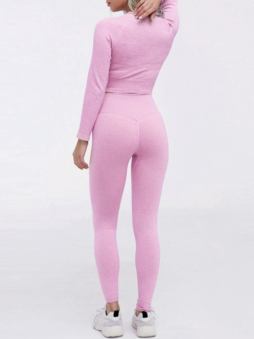 Basic Boutique Purple Seamless Long Sleeve Sweat Suit Cropped