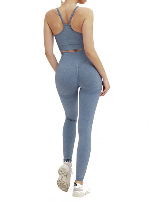 Sleek Blue Active Suit High Waist Full Length Ladies