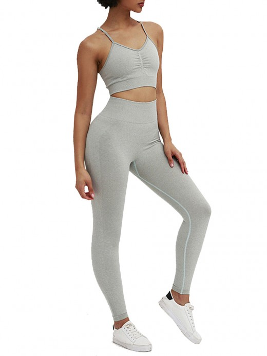 Adorable Light Gray Ruched Ankle Length Training Suits Online