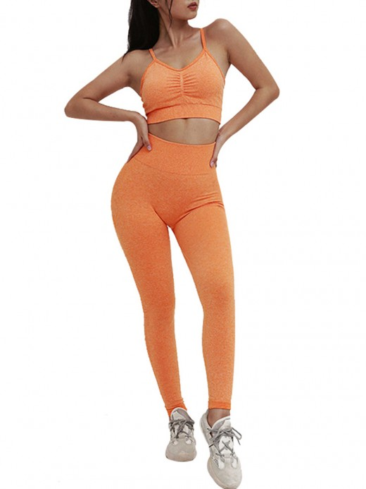Explorer Orange Backless Ruched Sports Suit Seamless Stretchable