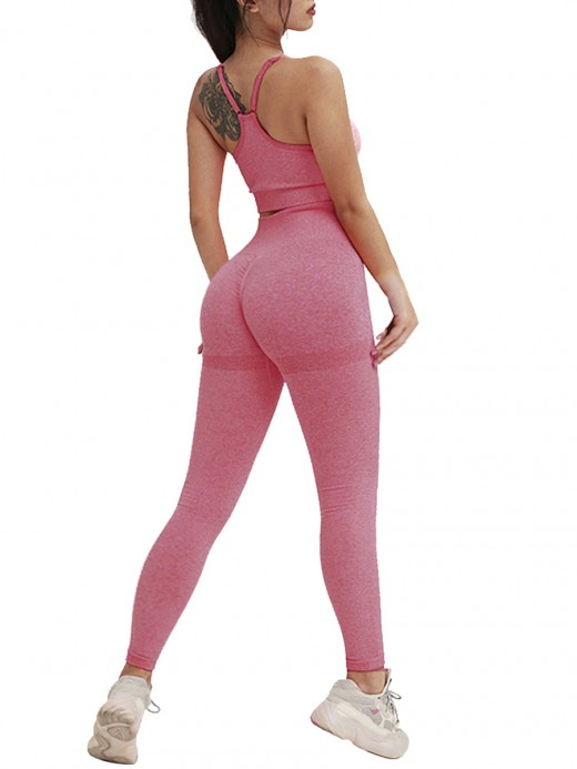 Unique Fuchsia High Waist Sport Two-Piece Backless Fashion Online