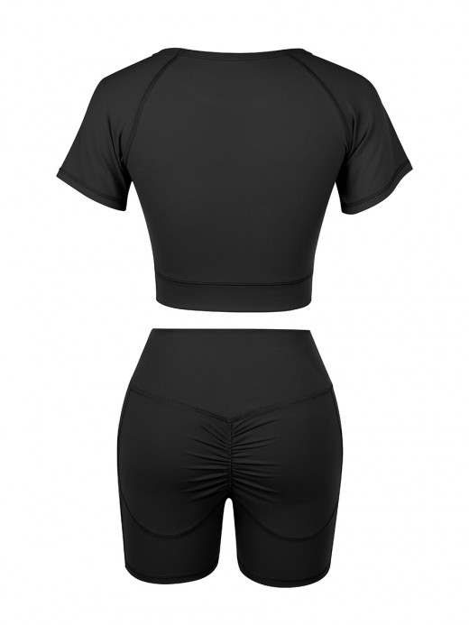 Unique Black Solid Color Round Collar Sweat Suit Women Fashion