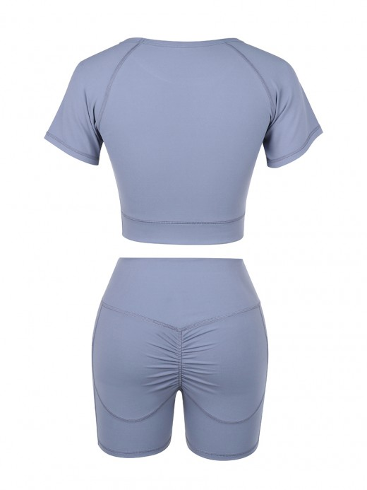 Uniquely Light Blue Crop Top High Rise Shorts Pleated Feminine Fashion