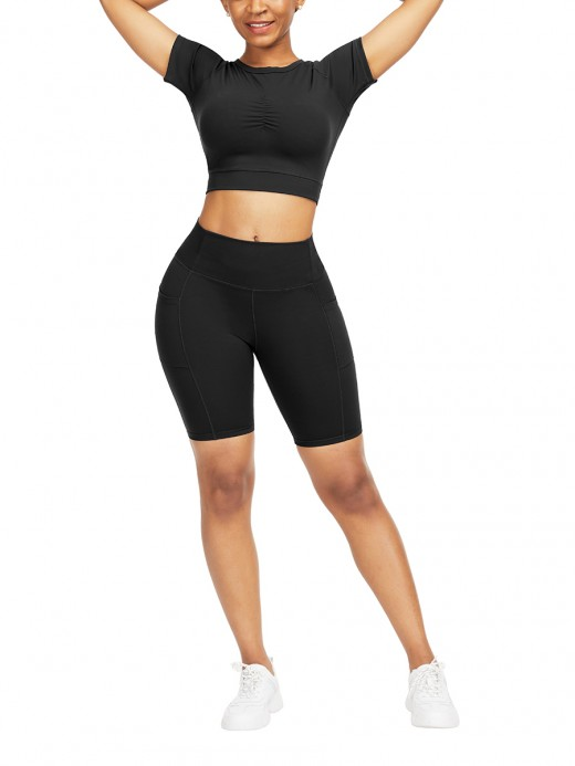 Outdoor Black Raglan Sleeve Top High Waist Shorts Preventing Sweat